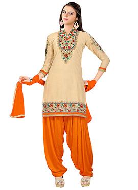 Beige Cotton Patiala Suit
