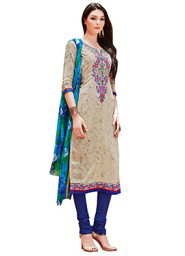 Beige Cotton Printed Churidar Suit