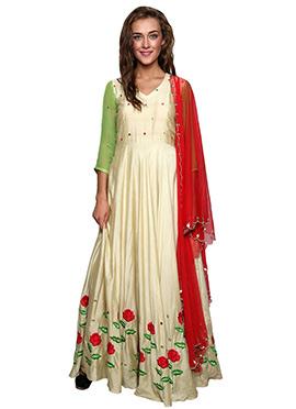 Beige Cotton Silk Anarkali Suit