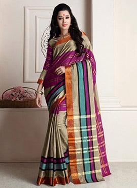 Beige Cotton Silk Saree
