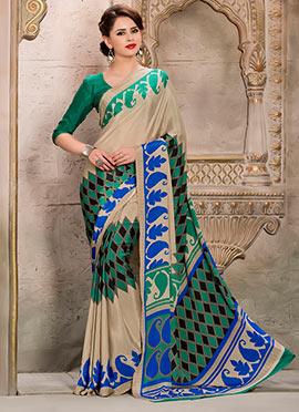 Beige Crepe Silk Printed Saree