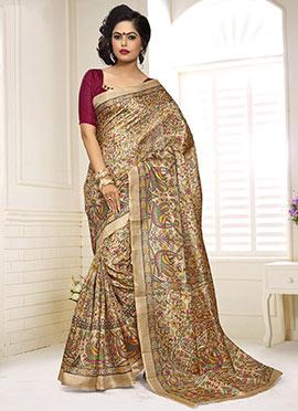 Beige Decorative Pattern Khadi Silk Printed Saree