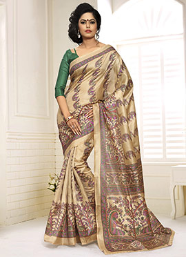 Beige Decorative Pattern Printed Saree