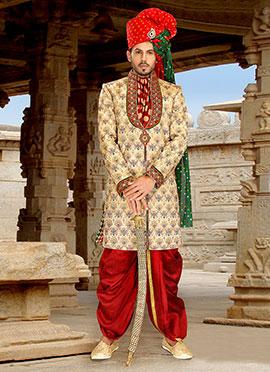 Beige Dhoti Style Sherwani