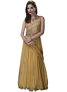 Beige Embroidered Anarkali Gown