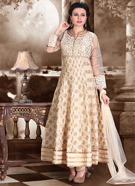 Beige Embroidered Anarkali Suit