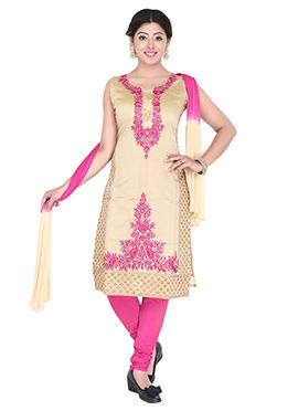 Beige Embroidered Art Silk Churidar Suit