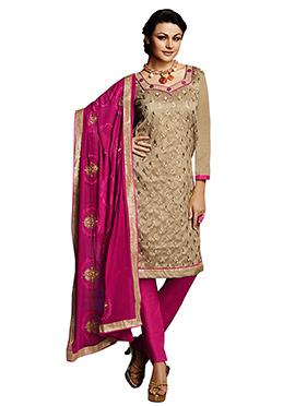 Beige Embroidered Chanderi Churidar Suit