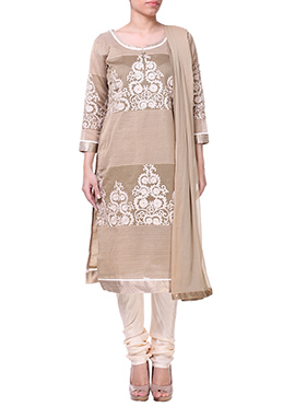Beige Embroidered Churidar Suit