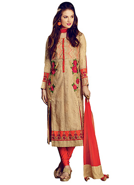 Beige Embroidered Churidar Suit
