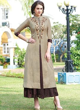 Beige Embroidered Skirt Set