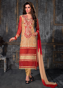 Beige Embroidered Straight Suit
