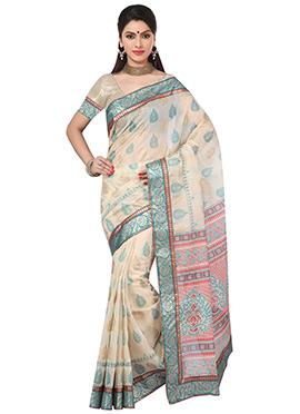 Beige Fancy Cotton Printed Saree