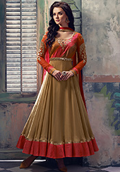 Beige French Chiffon Anarkali Suit