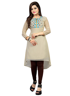 Beige Georgette Embroidered Asymmetrical Kurti