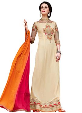 Beige Georgette Embroidered Pakistani Suit