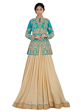 Beige Georgette N Raw Silk Lehenga Choli
