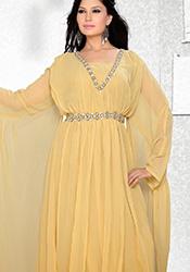 Beige Georgette Plus Size Fustan Dress