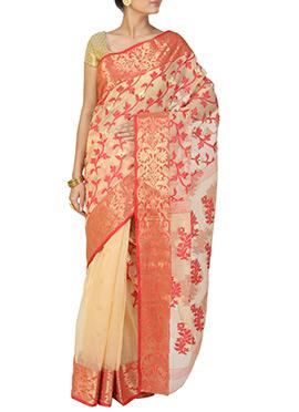 Beige Handloom Cotton Jamdani Saree