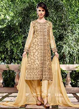 Beige Jacquard Khadi Churidar Suit