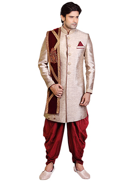 Beige Jute Linen Dhoti Style Sherwani