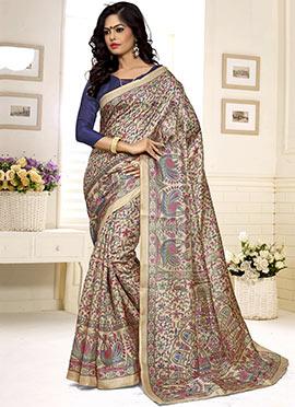 Beige Khadi Silk Decorative Pattern Printed Saree