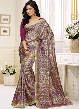 Beige Khadi Silk Foliage Patterned Saree