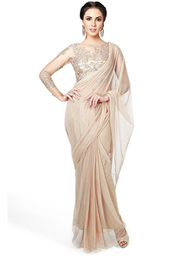 Beige Ks Couture Lycra Net Saree