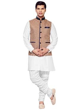 Beige Linen Plus Size Bandhgala Jacket