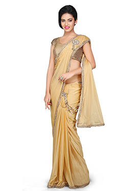 Beige Lycra Ready Pleated Saree