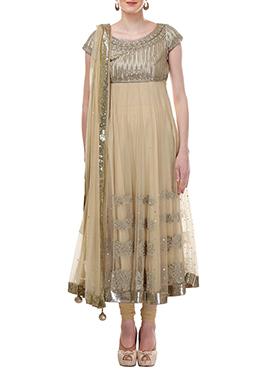 Beige Moonlight Net Anarkali Suit