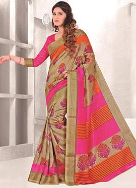 Beige Mysore Art Silk Printed Saree