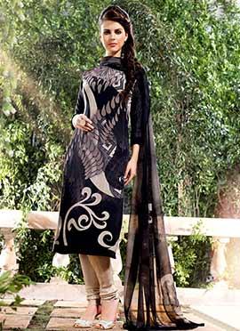 Beige N Black Crepe Churidar Suit