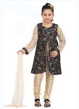 Beige N Black Kids Churidar Suit