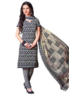 Beige N Black Printed Churidar Suit
