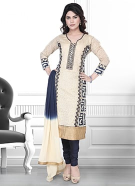Beige N Blue Art Silk Churidar Suit