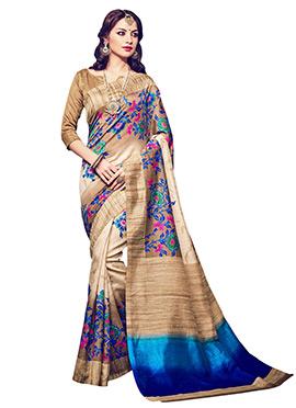 Beige N Blue Bhagalpuri Silk Saree