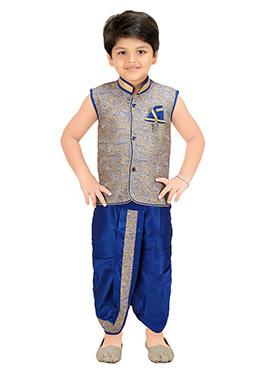 Beige N Blue Blended Cotton Kids Dhoti Kurta Set