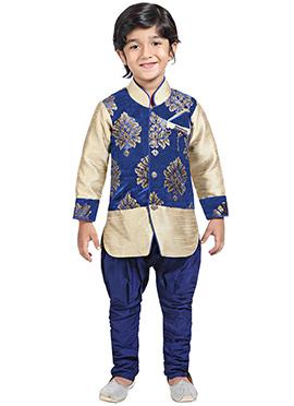 Beige N Blue Breeches Style Kids Sherwani