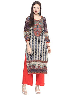 Beige N Blue Cotton Kurti