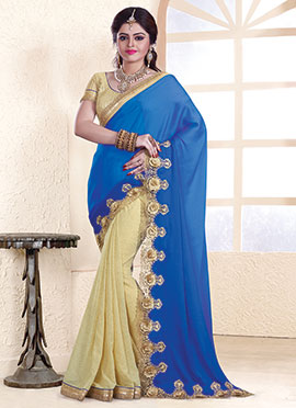 Beige N Blue Embroidered Half N Half Saree