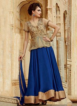 Beige N Blue Georgette Anarkali Suit