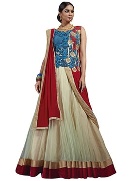 Beige N Blue Net Gown