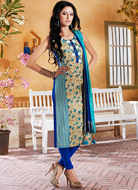 Beige N Blue Printed Churidar Suit