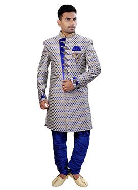 Beige N Blue Sherwani