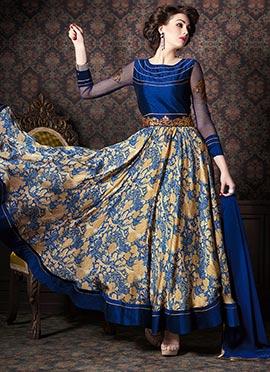 Beige N Dark Blue Satin Ankle Length Anarkali Suit