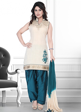 Beige N Dark Green Art Silk Salwar Suit
