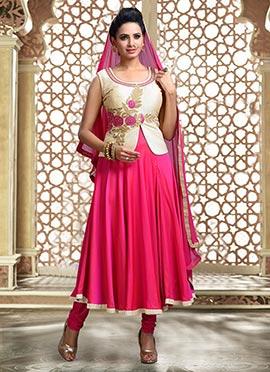 Beige N Fuchsia Pink Anarkali Suit