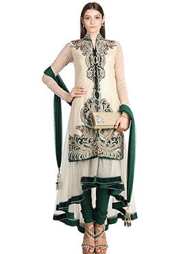 Beige N Green Asymmetric Anarkali Suit