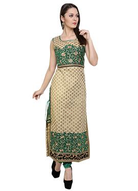 Beige N Green Benarasi Straight Suit